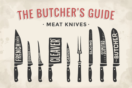 Meat cutting knives set. Poster Butcher diagram and scheme - Meat Knife. Set of butcher meat knives for butcher shop and design butcher themes. Vintage typographic hand-drawn. Vector illustration. Vettoriali