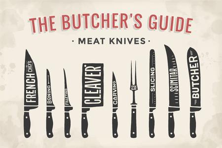 couteaux de découpe de viande fixés. Affiche Butcher diagramme et régime - Couteau de viande. Set de couteaux de viande de boucherie pour boucherie et design boucher thèmes. Vintage typographic tirée par la main. Vector illustration.
