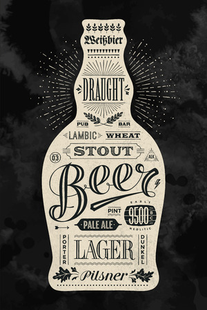 beer card: Poster bottle of beer with hand drawn lettering. Vintage drawing for pub, bar menu, beer card, t-shirt print and beer themes. Isolated black bottle of beer with lettering. Vector Illustration