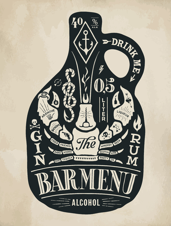 Poster bottle of alcohol with hand drawn lettering. Black vintage drawing for pub, bar menu, beer card, t-shirt print and alcohol themes. Bottle of bar menu with lettering. Vector Illustration Illustration