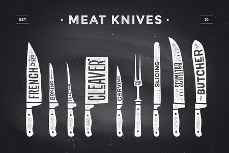 meat knife: Meat cutting knives set. Poster Butcher diagram and scheme - Meat Knife. Set of butcher meat knives for butcher shop and design butcher themes. Vintage typographic hand-drawn. Vector illustration Illustration