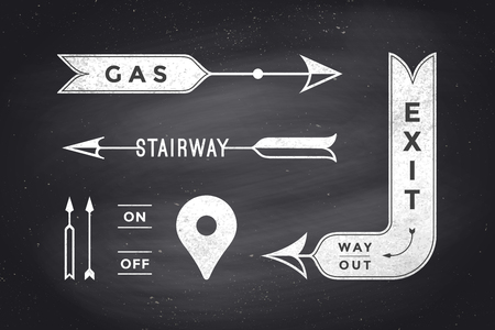 way out: Set of vintage arrows and banners with text Exit, Way Out, Gas, Stairway. Design elements of set arrow for navigation. Retro style arrow on black chalkboard background. Vector Illustration Illustration