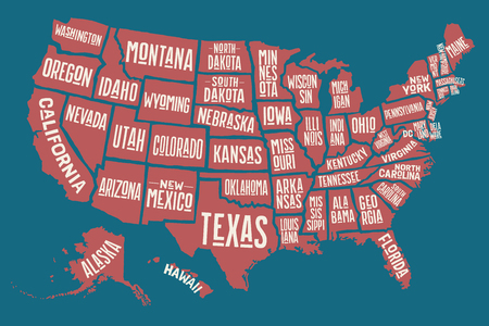 Poster map of United States of America with state names. Print map of USA for t-shirt, poster or geographic themes. Hand-drawn colorful map with states. Vector Illustration