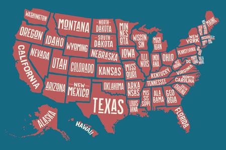 Cartel del mapa de los Estados Unidos de América con los nombres de estado. Mapa imprimir de EE.UU. para la camiseta, póster o temas geográficos. Dibujados a mano un mapa de colores con estados. Ilustración del vector Ilustración de vector