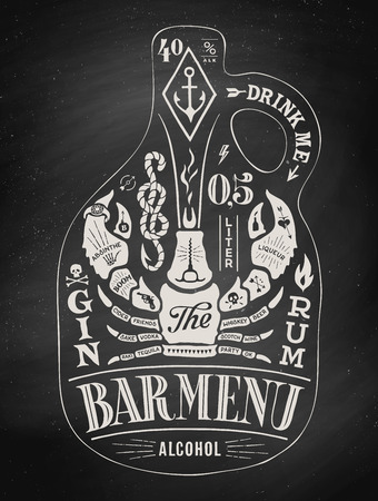 beer card: Poster bottle of alcohol with hand drawn lettering. Chalk vintage drawing for pub, bar menu, beer card, t-shirt print and alcohol themes. Bottle of bar menu with lettering. Vector Illustration