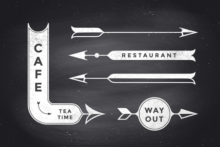 way out: Set of vintage arrows and banners with text Cafe, Way Out, Restaurant. Design elements of set arrow for navigation. Retro style arrow on black chalkboard background. Vector Illustration Illustration