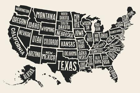 Mapa del cartel de los Estados Unidos de América con nombres de estados. Mapa estampado en blanco y negro de EE. UU. Para camiseta, póster o temas geográficos. Mapa negro dibujado a mano con los estados. Ilustración vectorial