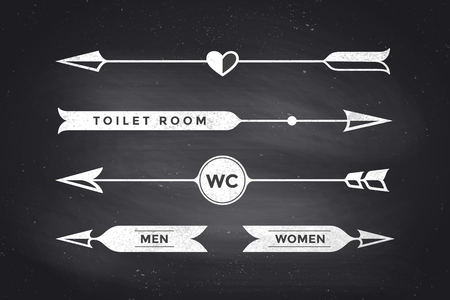 Set of vintage arrows and banners with text WC, Toilet room, Woman and Man. Design elements of set arrow for navigation. Retro style arrow on black chalkboard background. Vector Illustration