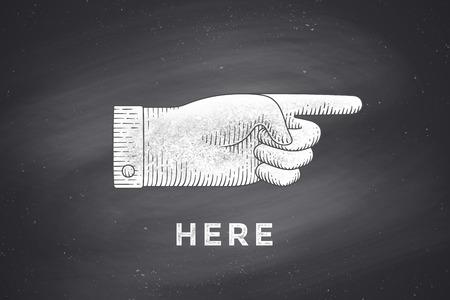 Dessin vintage de signe de la main à pointer du doigt dans le rétro style de gravure, dessin, tableau avec le texte ici. Old Dessiné pointant du doigt pour signe, signe de l'information, la navigation. Vector Illustration
