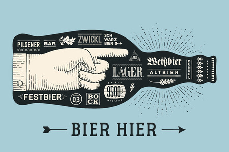 bier: Bottle of beer with hand drawn lettering and text Bier Hier for Oktoberfest Beer Festival. Vintage drawing for bar, pub, beer themes. Isolated black bottle of beer with lettering. Vector Illustration Illustration