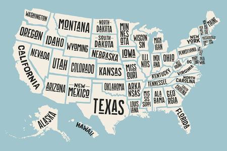 Cartel del mapa de los Estados Unidos de América con los nombres de estado. Mapa imprimir de EE.UU. para la camiseta, póster o temas geográficos. Dibujados a mano un mapa de colores con estados. Ilustración del vector