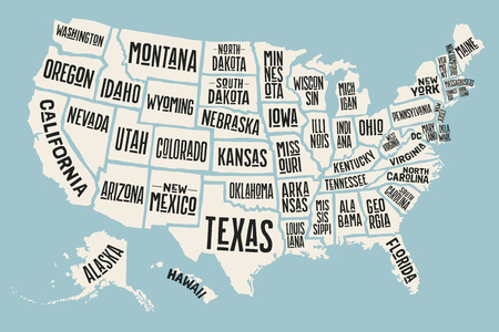 geographic: Poster map of United States of America with state names. Print map of USA for t-shirt, poster or geographic themes. Hand-drawn colorful map with states. Vector Illustration