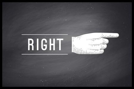 Vintage dessin de signe de la main avec le doigt pointé dans la gravure de style rétro et texte Droit sur tableau noir. Vieux doigt pointé dessiné pour signe, panneau d'information et navigation. Illustration
