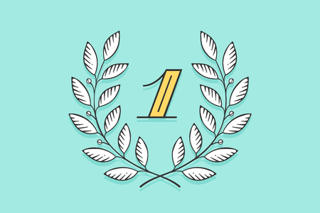 Laurel wreath icon with number One isolated on a turquoise background. drawn design and element for for tournament, competition, winner, prize and awarding. Illustration Illustration