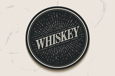irish pub label: Beverage coaster for glass with inscription Whiskey and light rays, sunburst. Vintage drawing for bar, pub, whiskey themes. Circle for placing a whiskey drink glass or a bottle. Illustration
