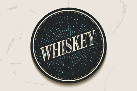 irish pub label: Beverage coaster for glass with inscription Whiskey, light rays and sunburst. Circle for placing drink glass or bottle, vintage drawing for bar, pub, whiskey themes. Illustration