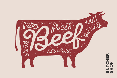 farmer market: Trendy illustration with red cow silhouette and words Beef, fresh, steak, natural, farm. Creative graphic design for butcher shop, farmer market. Poster for meat related theme. Vector Illustration