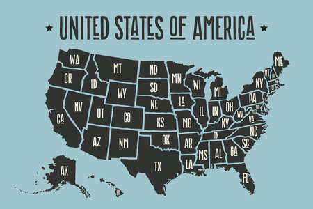 Poster map of United States of America with state names. Black print map of USA for t-shirt, poster or geographic themes. Hand-drawn map with states. Vector Illustration