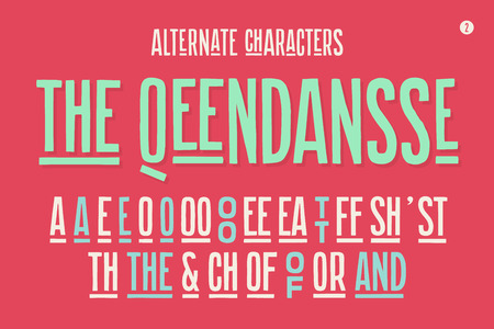 alternate: Hand-drawn condensed alphabet and font. Tall and thin uppercase letters and alternate characters. Hand-drawn sketch narrow sans serif font The Qeendansse, part Two. Vector Illustration