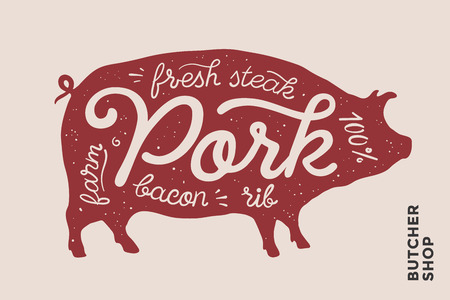 farmer market: Trendy illustration with red pig silhouette and words Pork, fresh, steak, bacon, farm, rib. Creative graphic design for butcher shop, farmer market. Poster for meat related theme. Vector Illustration
