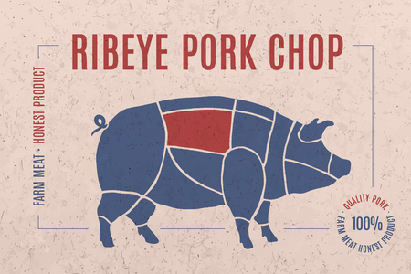 pork chop: Label for pork steak meat cut with text Ribeye Pork Chop. Creative graphic design for butcher shop, farmer market. Advertising poster for meat related theme. Vector Illustration