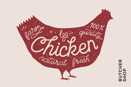 Trendy illustration with red chicken silhouette words  fresh, natural, leg. Creative graphic design for butcher shop,