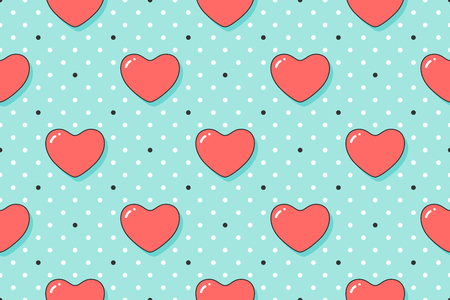 Seamless pattern with red hearts for Valentine Day, Lovers Day or wedding. Hand drawn design for love related themes for wrapping paper, wallpaper, background, greeting card. Vector Illustration Vettoriali