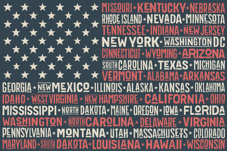 dc: Poster of United States of America flag with states and capital cities. Print for t-shirt of USA flag with names states. Colorful vintage typographic hand-drawn. Vector Illustration