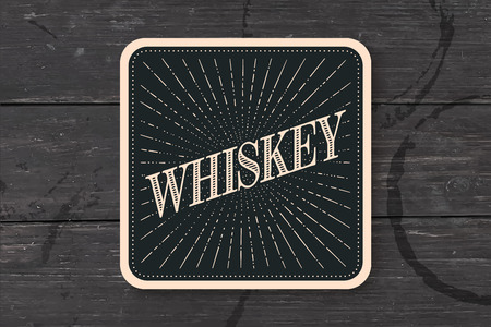 irish pub label: Beverage coaster for glass with inscription Whiskey, light rays and sunburst. Vintage drawing for bar, pub, whiskey themes. Square for placing whiskey drink in glass or a bottle. Vector Illustration