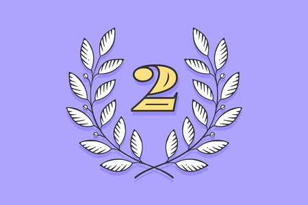 Laurel wreath icon with number Two isolated on a violet background. Hand drawn design and element for tournament, competition, winner, prize and awarding. Vector Illustration