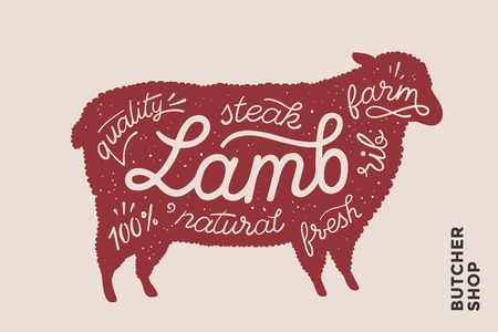 Trendy illustration with red lamb silhouette and words Lamb, fresh, steak, natural, farm. Creative graphic design for butcher shop, farmer market. Poster for meat related theme. Vector Illustration Illustration