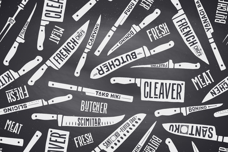 knive: Seamless pattern and background of Meat and Fish cutting knives. Creative graphic pattern with hand drawn illustrations for butcher shop, farmer market. Vintage typographic. Vector illustration