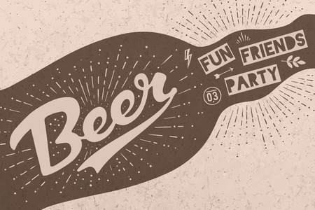 Bottle of beer with hand drawn lettering and text Beer Here for sign of Oktoberfest Beer Festival. Vintage drawing for bar, pub, beer themes. Kraft stamp with lettering. Vector Illustration