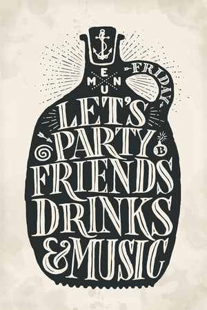 Poster bottle with hand drawn lettering Menu, Party, Friends, Drinks, Music. Vintage drawing cover menu for pub, bar, cafe and restaurant, menu and drink card, t-shirt print. Vector Illustration Stock Photo