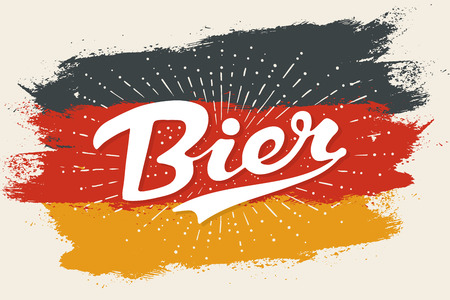 Hand drawn lettering Bier on Germany flag background. Colorful vintage drawing for bar, pub and trendy beer themes. Print for poster, menu, sticker, t-shirt. Phrase Bier in German. Vector Illustration