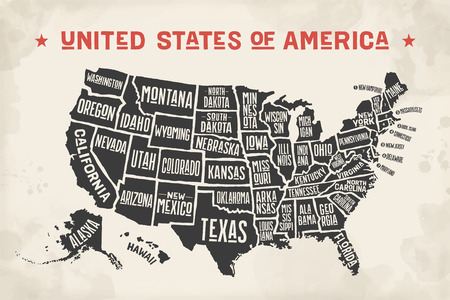 Poster map of United States of America with state names. Black and white print map of USA.