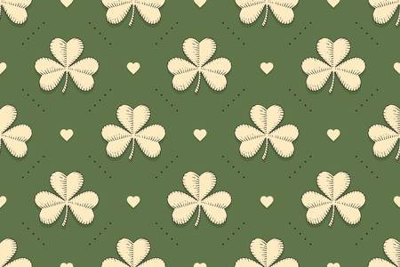 Seamless irish green pattern with clover and heart on green background. Pattern for St. Patrick Day. Old school hand-drawn design in engraving style for wrapping paper, background. Vector Illustration
