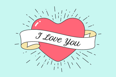 Old ribbon with message I Love You and red heart. Retro design element for banner, advertising, poster or greeting card in pop art style for Valentine Day and Love theme. Vector Illustration