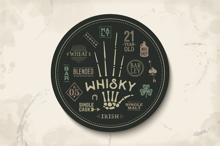 scotch whisky: Coaster for whiskey and alcoholic beverages. Vintage drawing for bar, pub and whiskey themes. Black circle for placing whiskey glass over it with lettering, drawings. Vector Illustration Illustration