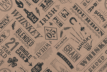 scotch: Seamless pattern with types of whiskey and hand drawn lettering for bar, pub, cafe, fest and party. Vintage drawing for placemat, bar menu, t-shirt print and whiskey themes. Vector Illustration