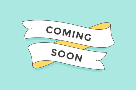 Old school vintage ribbon banner with text Coming Soon. Colorful ribbon in trendy style on turquoise background for stores, shopping malls, shops, markets. Illustration