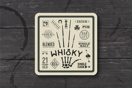 scotch whisky: Coaster for whiskey and alcoholic beverages. Vintage drawing for bar, pub and whiskey themes. Black and white square for placing whiskey glass over it with lettering, drawings. Vector Illustration Illustration