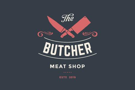 Godło sklepu mięsnego Butcher z nożami Cleaver and Chefs, tekst The Butcher Meat Shop. Szablon logo - sklep, rynek, restauracja lub projekt - baner, naklejki. Ilustracja wektorowa