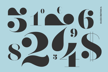 Font of numbers in classical french didot style with contemporary geometric design. Beautiful elegant stencil numeral, dollar and euro symbols. Vintage and retro typographic. Vector Illustration Banco de Imagens - 79300097