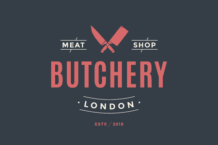 Emblem of Butchery meat shop with Knives silhouette, text The Butchery, Meat Shop. Logo template for meat business - farmer shop, market or design - label, banner, sticker. Vector Illustration Çizim