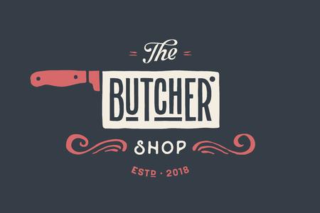 텍스트와 함께 도살 고기가 게의 빈티지 엠 블 럼 정육점, 상점입니다. 고기 비즈니스 - 농부가 게, 시장 또는 디자인 - 레이블, 배너, 스티커 로고 서식
