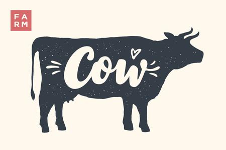 Boerderijdieren instellen. Geïsoleerde koensilhouet en woordenkoe, Landbouwbedrijf. Creatief grafisch ontwerp met belettering Koe voor slagerij, boerenmarkt. Poster voor dieren thema. Vector illustratie