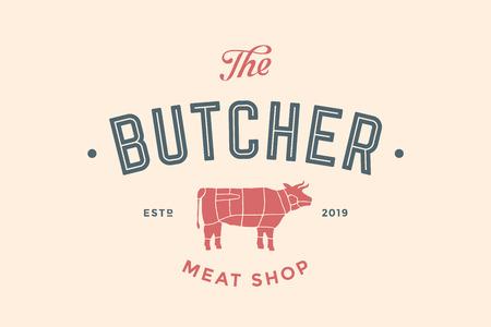 텍스트와 함께 도살 고기 숍의 상징 정육점, 고기 숍 및 암소 실루엣입니다. 고기 비즈니스를위한 로고 템플릿입니다.