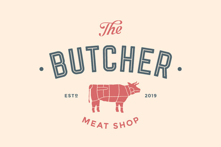 Emblem of Butchery meat shop with text The Butcher, Meat Shop and cow silhouette. Logo template for meat business. Çizim