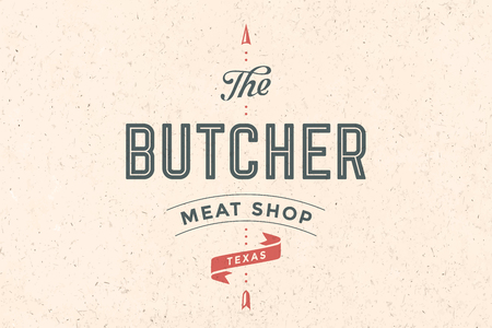 chop: Vintage emblem of Butchery meat shop with text The Butcher, Meat Shop, Texas and arrow. Logo template for meat business - farmer shop, market or design - label, banner, sticker. Vector Illustration
